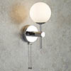 Searchlight Global Chrome Wall Light with Opal Glass Shade - 4337-1-LED profile small image view 1