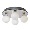 Searchlight Global Chrome 4 Light Flush Fitting with Opal Glass Shades - 4337-4-LED profile small image view 1