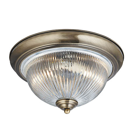 Searchlight American Diner Antique Brass Flush Fitting with Clear Ribbed Glass - 4370