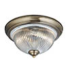Searchlight American Diner Antique Brass Flush Fitting with Clear Ribbed Glass - 4370 profile small image view 1