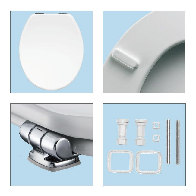 Bemis Modena Soft Close Toilet Seat with Chrome Hinges - 4404CLT000 Feature Large Image