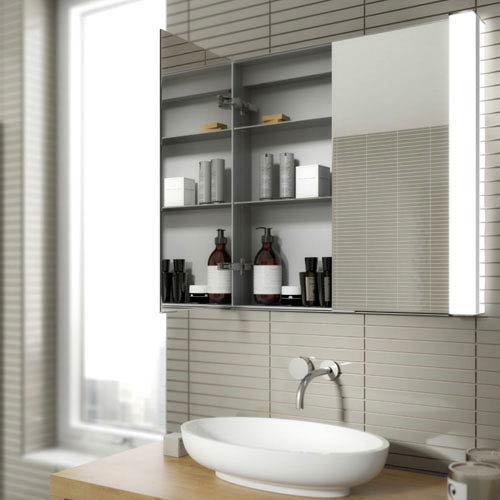 HIB Laser Recessed Fluorescent Aluminium Mirror Cabinet - 44300 profile large image view 2