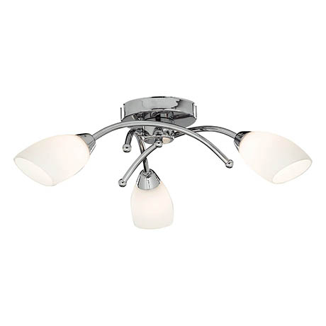 Searchlight Chrome 3 LED Light Ceiling Fitting with White Glass Shades - 4483-3CC-LED