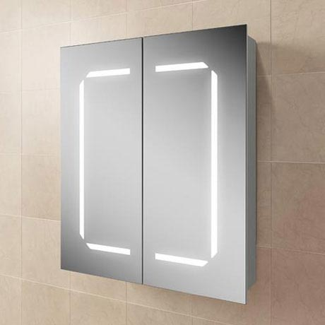HIB Zephyr 60 LED Demisting Aluminium Mirror Cabinet - 45700