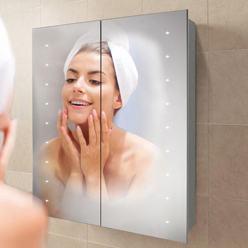 HIB Nimbus 60 LED Demisting Aluminium Mirror Cabinet - 45900  Profile Large Image