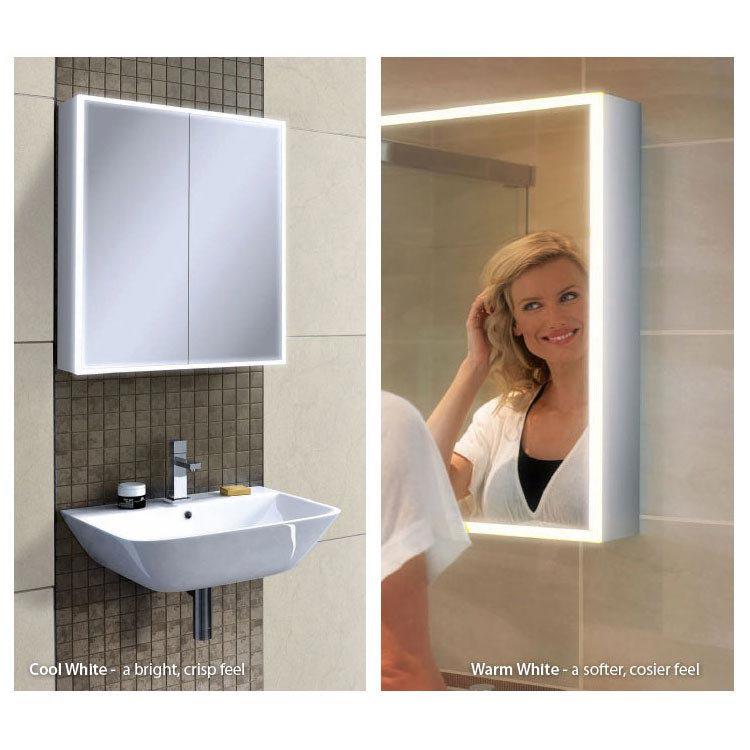 HIB Qubic 60 LED Aluminium Mirror Cabinet - 46500 profile large image view 2