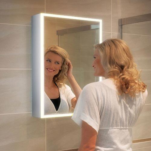 HIB Qubic 60 LED Aluminium Mirror Cabinet - 46500 profile large image view 3