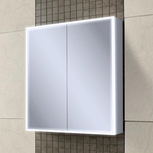 HIB Qubic 60 LED Aluminium Mirror Cabinet - 46500 Large Image