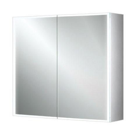 HIB Qubic 80 LED Aluminium Mirror Cabinet - 46600 Large Image