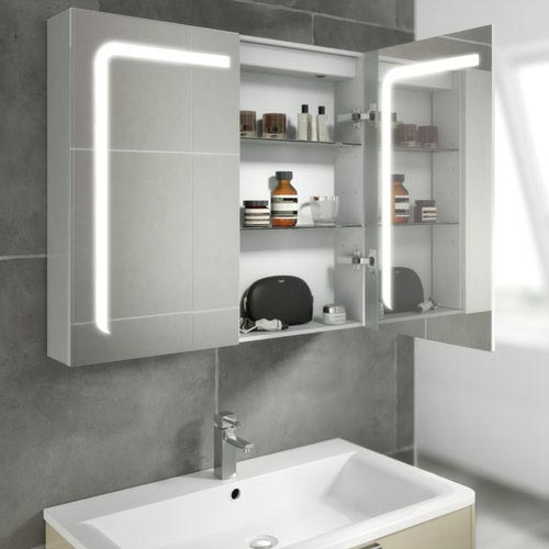 HIB Stratus 60 LED Demisting Aluminium Mirror Cabinet - 46900  Profile Large Image