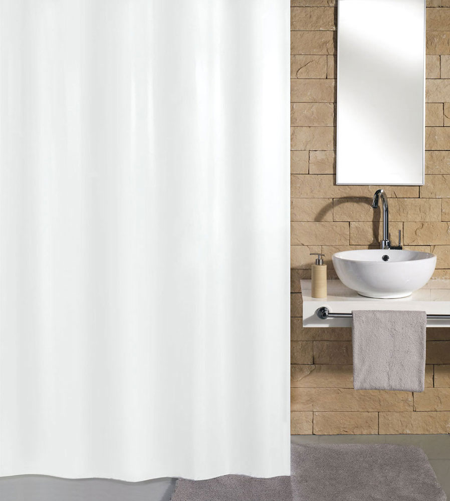 Kleine Wolke Kito Polyester Shower Curtain - W1800 x H2000 - White - 4937-114-305 Large Image