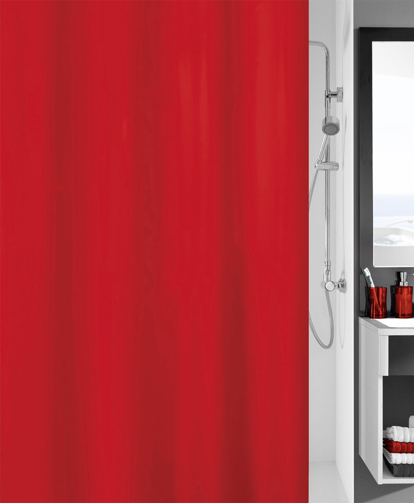 Kleine Wolke Kito Polyester Shower Curtain - W1800 x H2000 - Red - 4937-462-305 Large Image