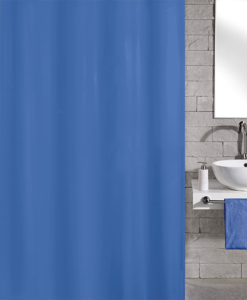 Kleine Wolke Kito Polyester Shower Curtain - W1800 x H2000 - Blue - 4937-733-305 Large Image