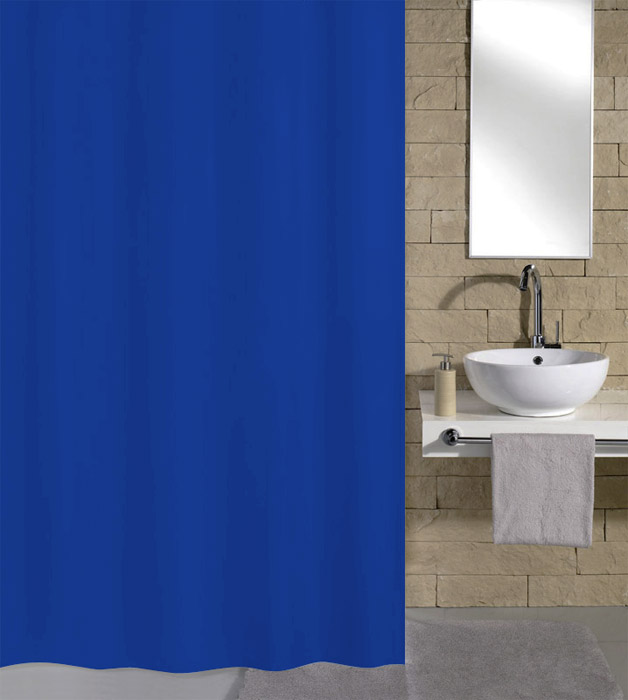 Kleine Wolke Kito Polyester Shower Curtain - W2400 x H1800 - Blue - 4937-733-352 Large Image