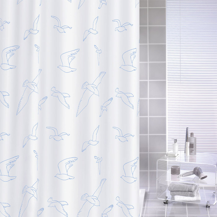Kleine Wolke - Birdie Polyester Shower Curtain - W1800 x H2000 - White Large Image