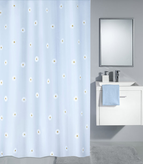 Kleine Wolke - Flower Polyester Shower Curtain - W1800 x H2000 - Blue profile large image view 1