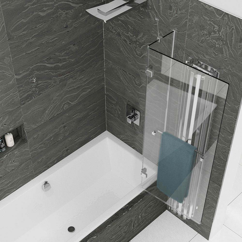 KUDOS Inspire 8mm Two Panel Out-Swing Bathscreen with Towel Rail profile large image view 4