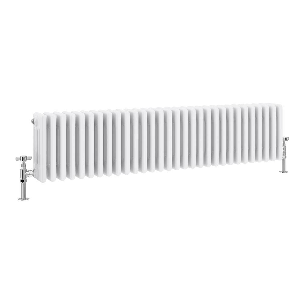 Keswick Cast Iron Style Traditional 4 Column White Radiator (300 x 1340mm) profile large image view 1