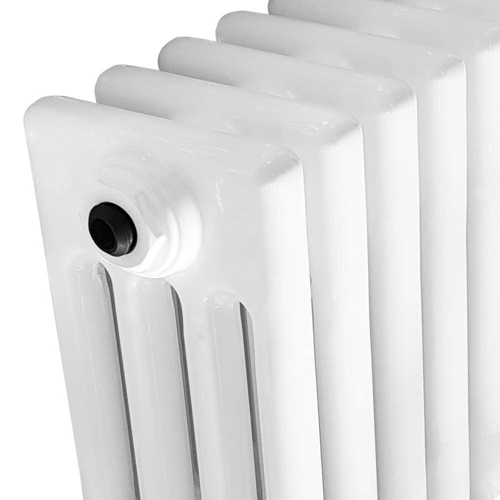 Keswick Cast Iron Style Traditional 4 Column White Radiator (600 x 636mm)  Profile Large Image