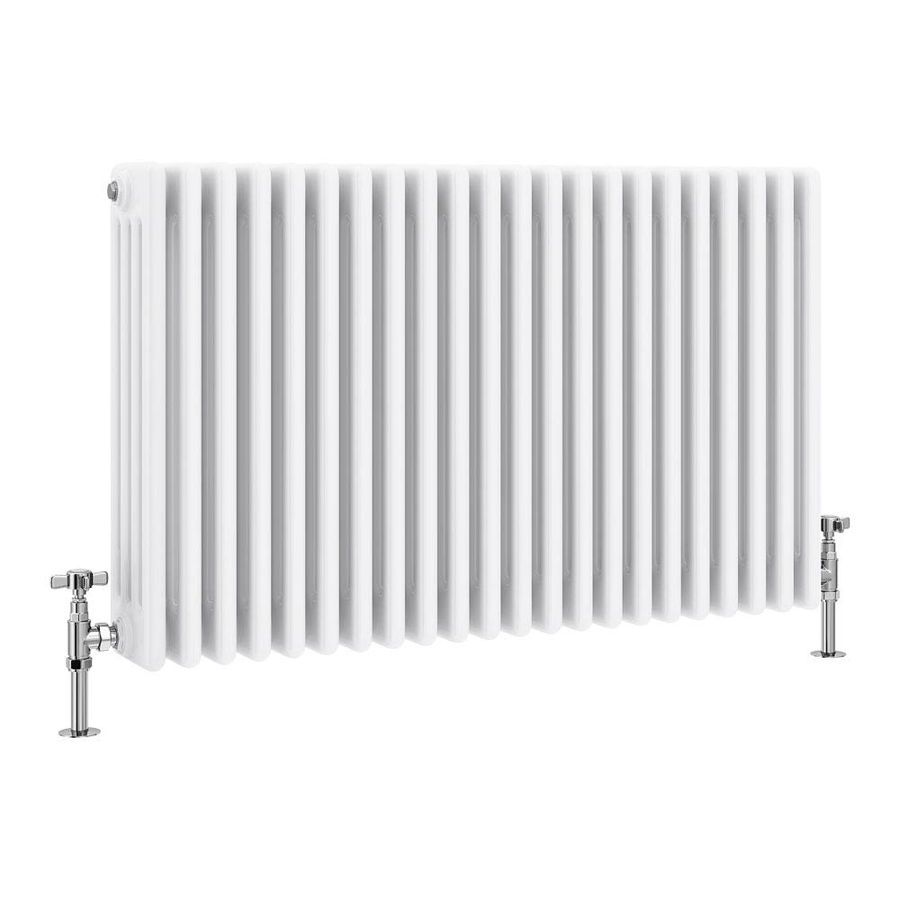 Keswick Cast Iron Style Traditional 4 Column White Radiator (600 x 988mm) profile large image view 1