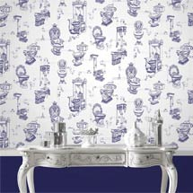 Graham & Brown - Loo Loo Blue Bathroom Wallpaper - 50-635 Medium Image