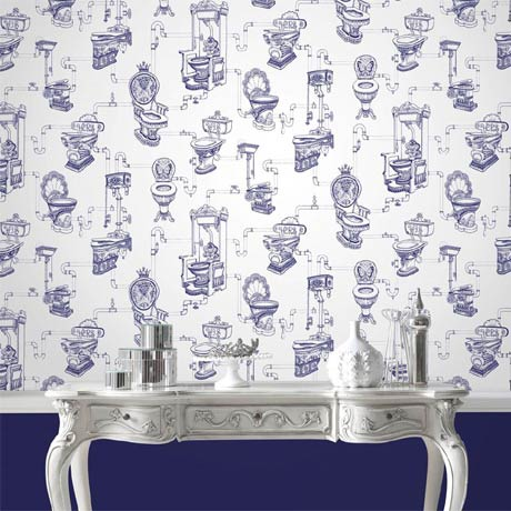 Graham & Brown - Loo Loo Blue Bathroom Wallpaper - 50-635