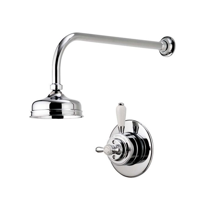 """Aqualisa - Aquatique Thermo Concealed Thermostatic Valve with 5"""" Drencher Head & Arm - Chrome - 500.00.01-550.01 Large Image"""