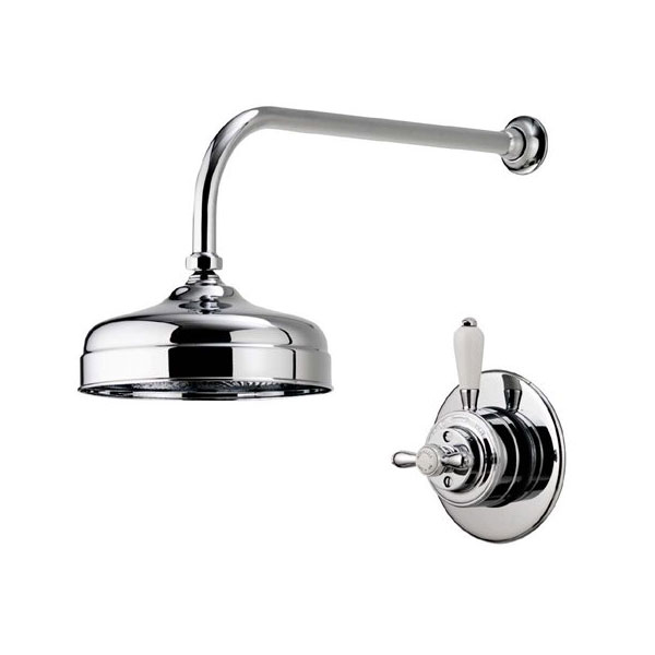 "Aqualisa - Aquatique Thermo Concealed Thermostatic Valve with 8"" Drencher Head & Arm - Chrome - 500.00.01-580.01 Large Image"