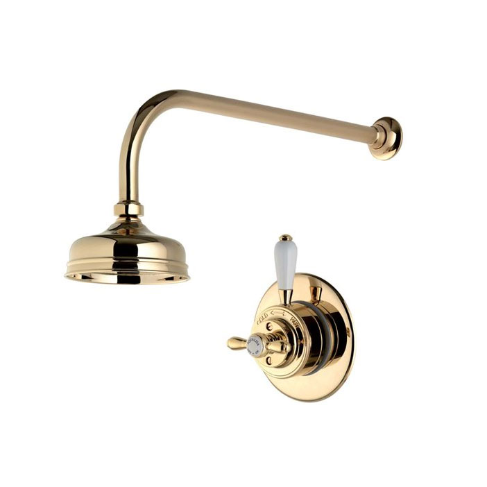 "Aqualisa - Aquatique Thermo Concealed Thermostatic Valve with 5"" Drencher Head & Arm - Gold - 500.00.04-550.04 profile large image view 1"