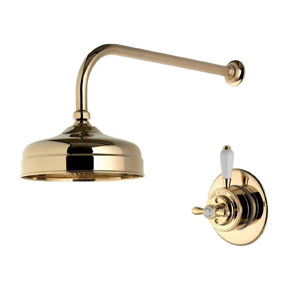 "Aqualisa - Aquatique Thermo Concealed Thermostatic Valve with 8"" Drencher Head & Arm - Gold - 500.00.04-580.04 Large Image"