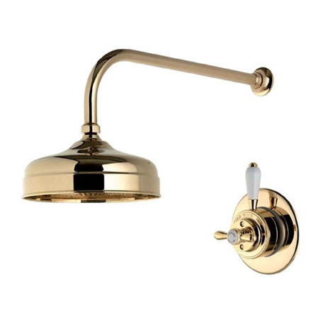 "Aqualisa - Aquatique Thermo Concealed Thermostatic Valve with 8"" Drencher Head & Arm - Gold - 500.00.04-580.04"