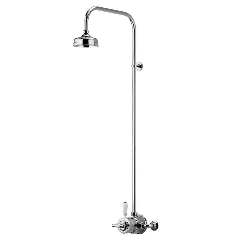 """Aqualisa - Aquatique Thermo Exposed Thermostatic Valve with 5"""" Drencher Head & Riser Rail - Chrome - 500.10.01-551.01"""