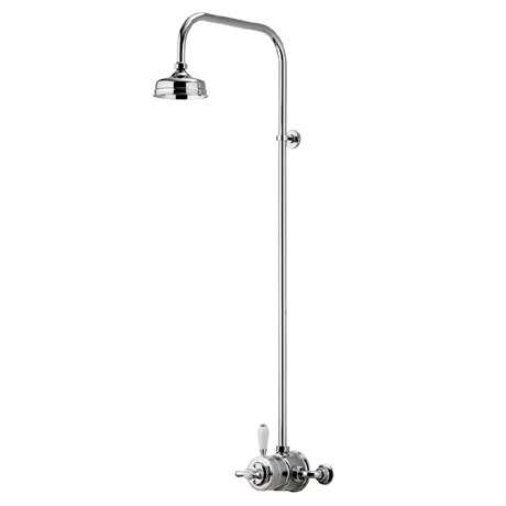 "Aqualisa - Aquatique Thermo Exposed Thermostatic Valve with 5"" Drencher Head & Riser Rail - Chrome -"