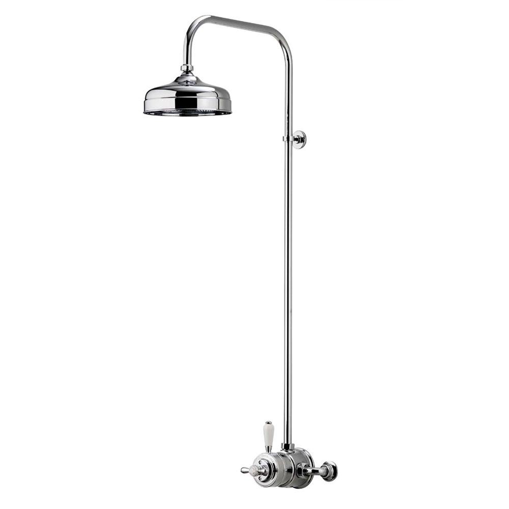 "Aqualisa - Aquatique Thermo Exposed Thermostatic Valve with 8"" Drencher Head & Riser Rail - Chrome - 500.10.01-581.01 Large Image"