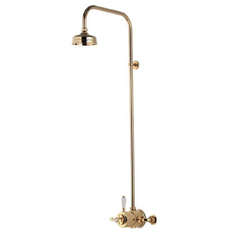 "Aqualisa - Aquatique Thermo Exposed Thermostatic Valve with 5"" Drencher Head & Riser Rail - Gold - 5"