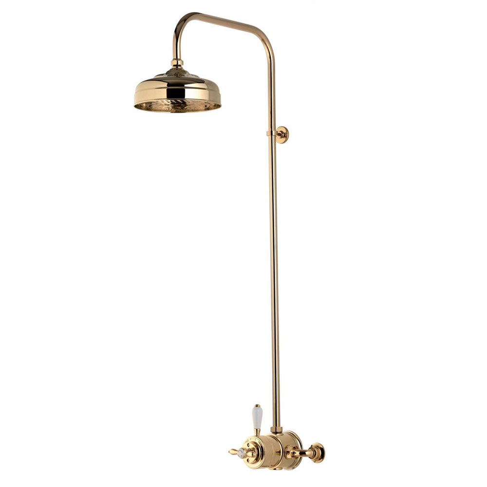 "Aqualisa - Aquatique Thermo Exposed Thermostatic Valve with 8"" Drencher Head & Riser Rail - Gold - 500.10.04-581.04 profile large image view 1"