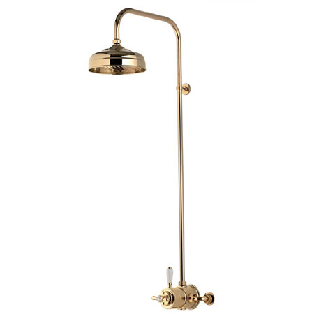 "Aqualisa - Aquatique Thermo Exposed Thermostatic Valve with 8"" Drencher Head & Riser Rail - Gold - 5"