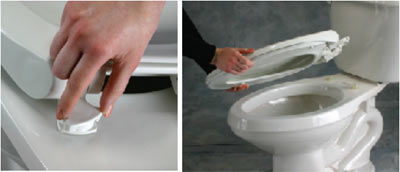 Demonstration of toilet seat fixing