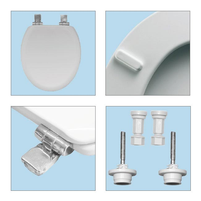 Bemis Chicago Soft Close Toilet Seat with Chrome Hinges - 5000QCELT000 Feature Large Image