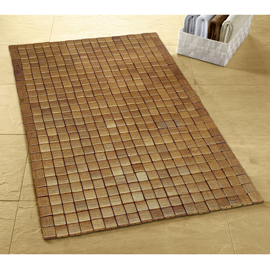 Kleine Wolke   Mosaic Wood Bath Mat   500 X 700mm   Brown   5051 318 442 At  Victorian Plumbing UK