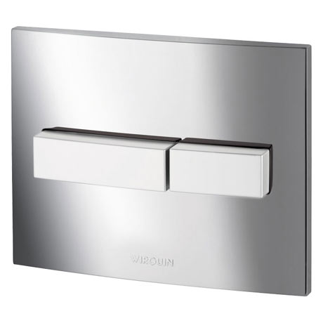 Wirquin Line Dual Flush Plate - Shiny Chrome