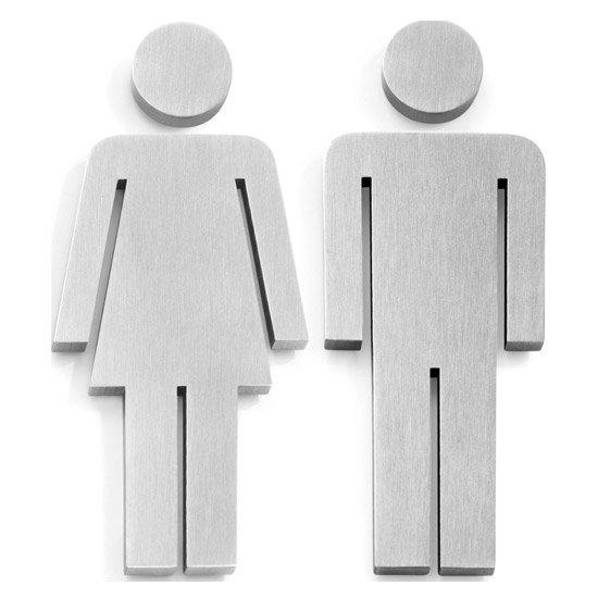 Zack Indici Set Of 2 Door Symbols - Stainless Steel - Man/Woman - 50724 Large Image