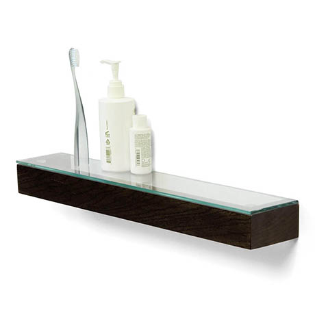 550mm Glass Shelf Dark Oak
