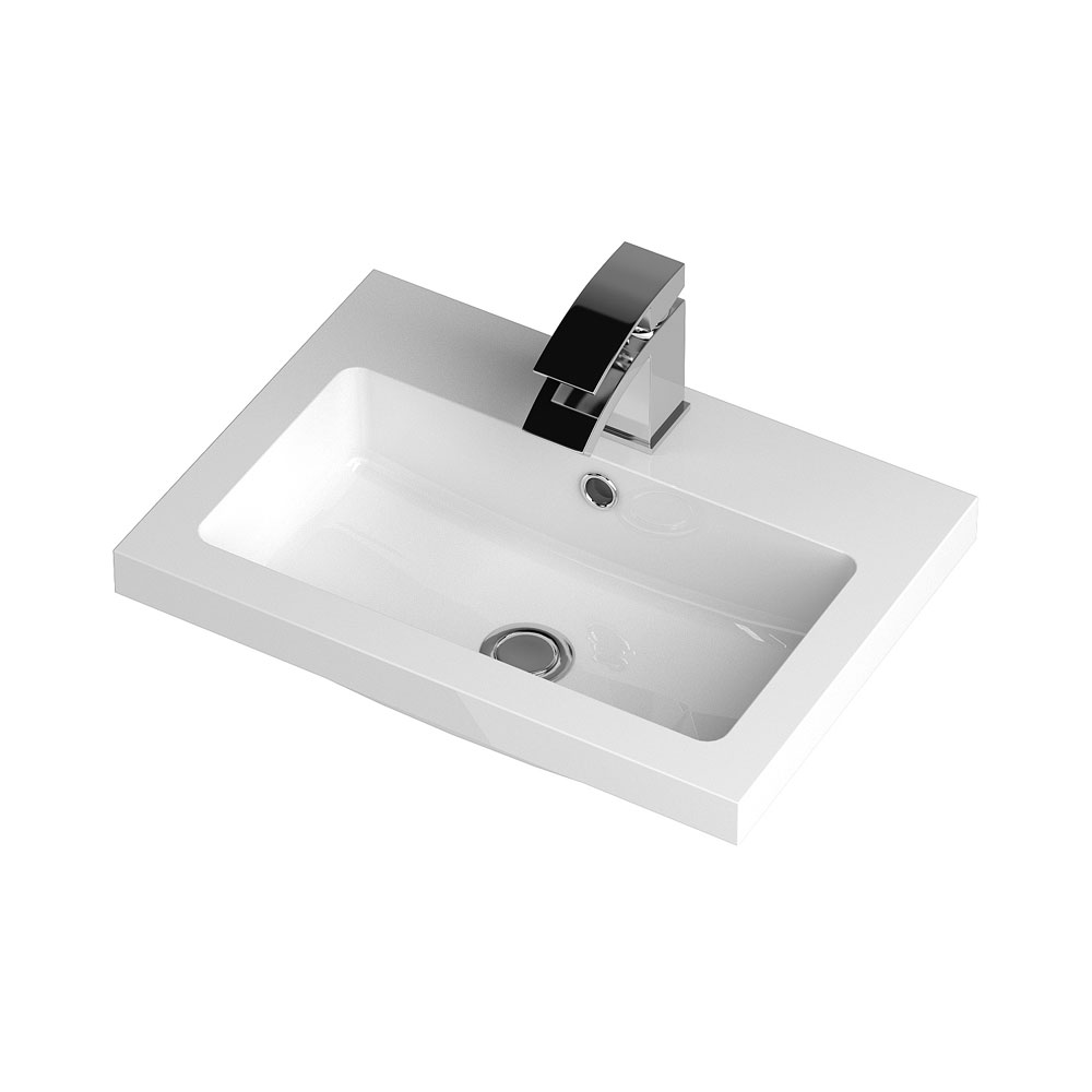Apollo 500mm Wall Hung Vanity Unit (Gloss Cashmere - Depth 355mm) profile large image view 3