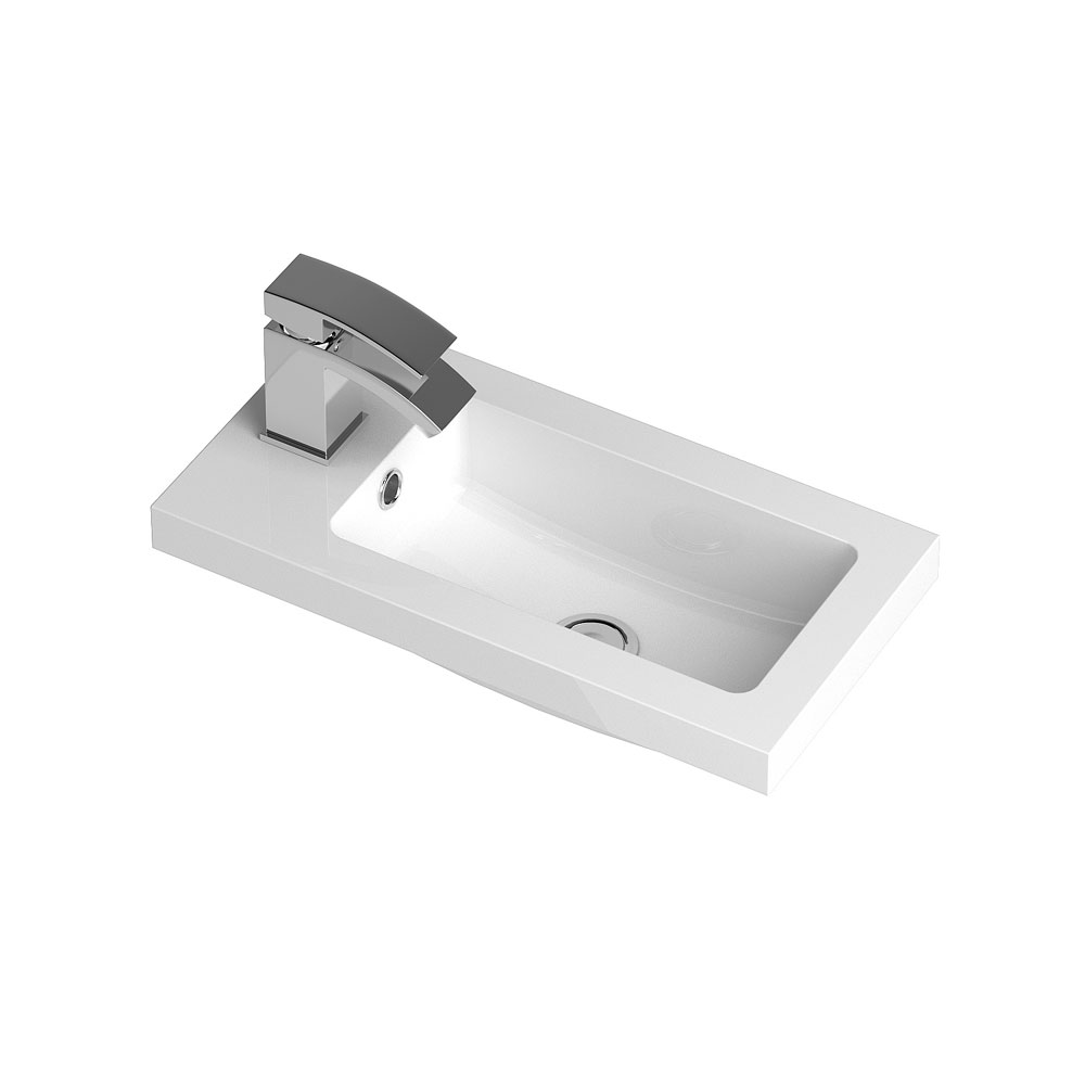 Apollo 500mm Compact Wall Hung Vanity Unit (Gloss Grey - Depth 255mm) Feature Large Image