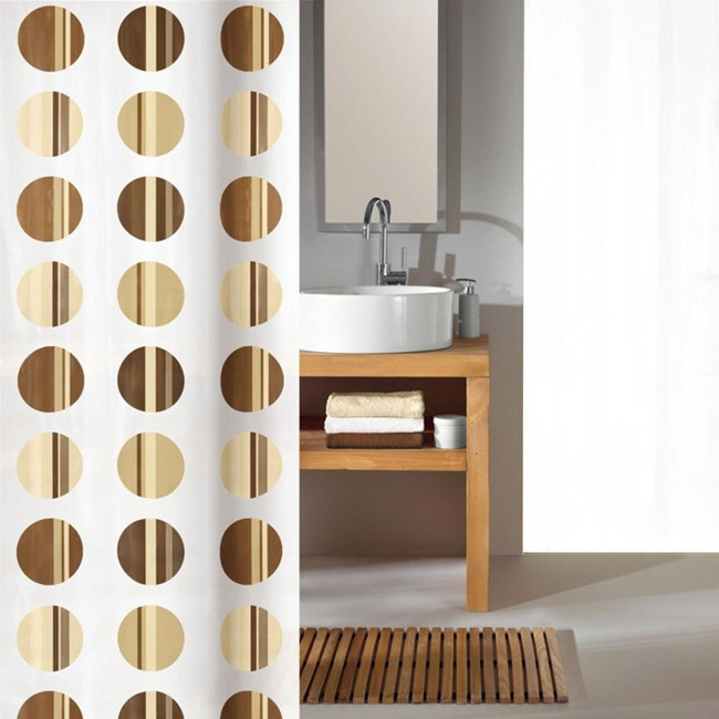 Kleine Wolke - Point Polyester Shower Curtain - W1800 x H2000 - Toffee Large Image