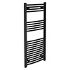 Turin Black Curved W500 x H1200mm Heated Towel Rail profile small image view 1