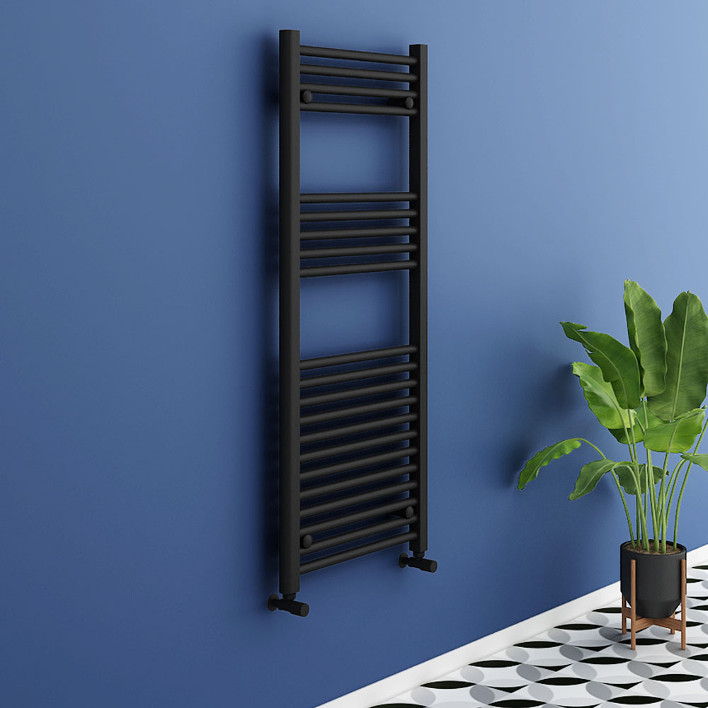 Turin Black W500 x H1200mm Heated Towel Rail