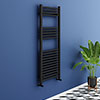 Turin Black W500 x H1200mm Heated Towel Rail profile small image view 1