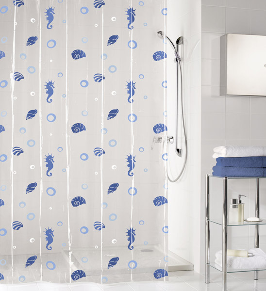 Kleine Wolke - Sandy Vinyl Shower Curtain - W1800 x H2000 - Blue - 5132-700-305 profile large image view 1